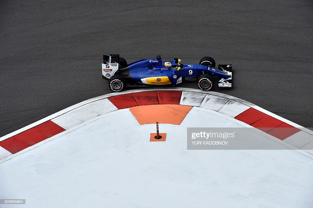 Sauber F1 Team's Swedish driver Marcus Ericsson steers his car during the first practice session of the Formula One Russian Grand Prix at the Sochi Autodrom circuit on April 29, 2016. / AFP / YURI