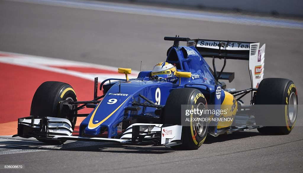 Sauber F1 Team's Swedish driver Marcus Ericsson steers his car during the second practice session of the Formula One Russian Grand Prix at the Sochi Autodrom circuit on April 29, 2016. / AFP / ALEXANDER