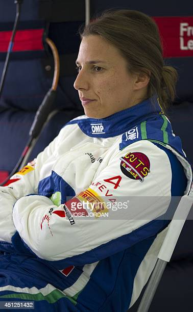 Sauber F1 Team's Swiss Formula One driver Simona de Silvestro looks on during private test at the Ricardo Tormo racetrack in Valencia on June 26 2014...