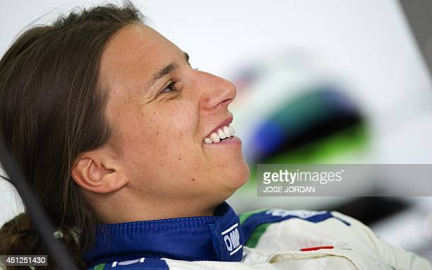 Sauber F1 Team's Swiss Formula One driver Simona de Silvestro smiles during private test at the Ricardo Tormo racetrack in Valencia on June 26 2014...