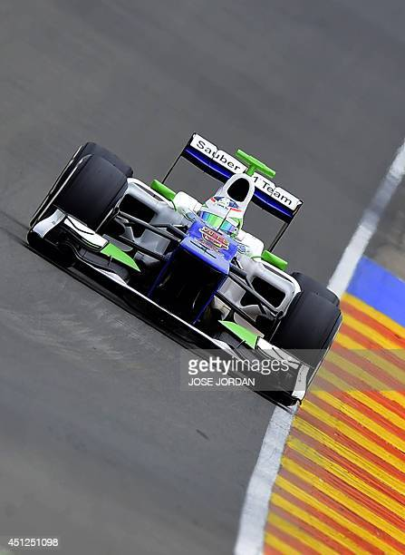 Sauber F1 Team's Swiss Formula One driver Simona de Silvestro takes part in a private test at the Ricardo Tormo racetrack in Valencia on June 26 2014...