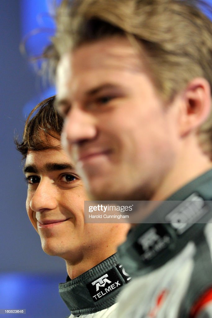 Sauber Formula 1 driver Esteban Gutierrez of Mexico looks on as he unveils the Sauber C32-Ferrari new car for the 2013 Formula 1 season during the launch at the Sauber Motorsport AG on February 2, 2013 in Hinwil, Switzerland.