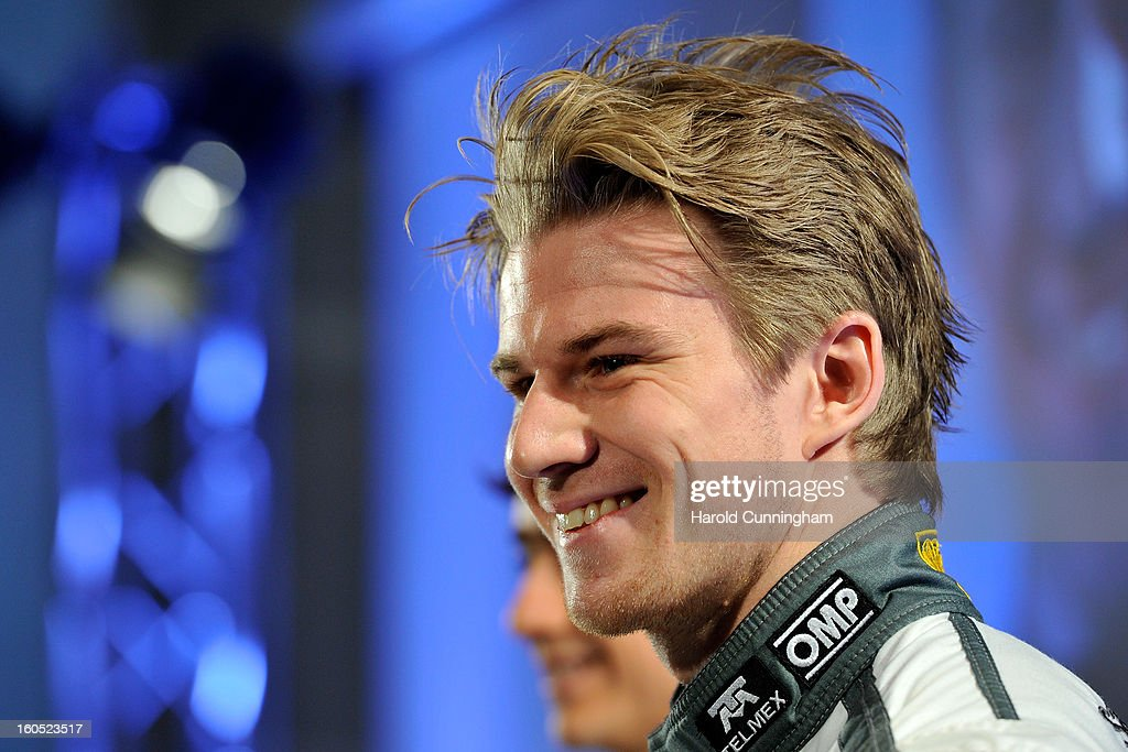 Sauber Formula 1 driver <a gi-track='captionPersonalityLinkClicked' href=/galleries/search?phrase=Nico+Hulkenberg&family=editorial&specificpeople=2566799 ng-click='$event.stopPropagation()'>Nico Hulkenberg</a> of Germany looks on as he unveils the Sauber C32-Ferrari new car for the 2013 Formula 1 season, during the launch at the Sauber Motorsport AG on February 2, 2013 in Hinwil, Switzerland.