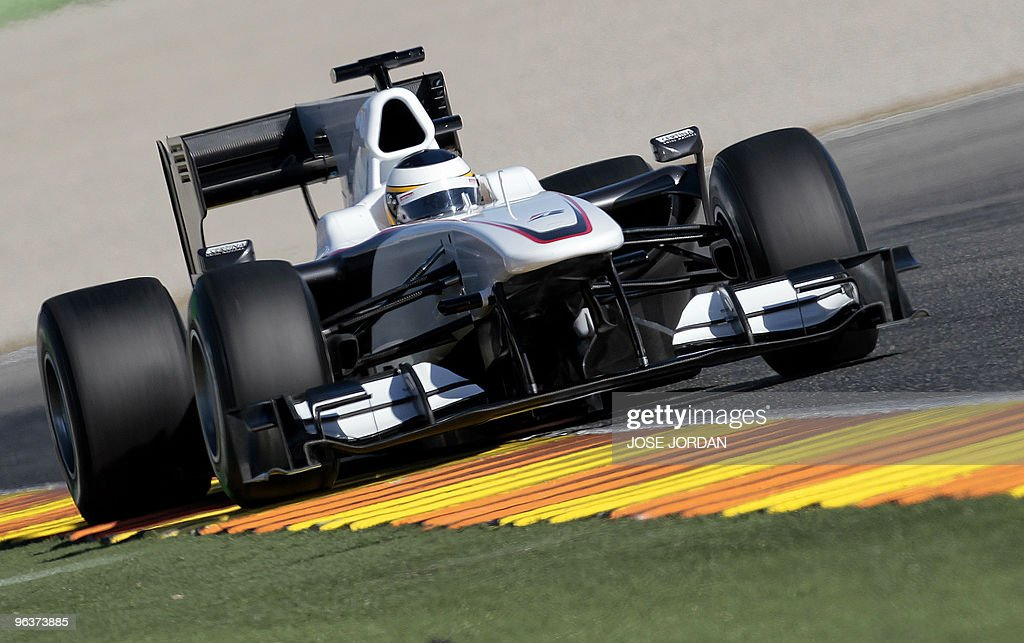 Sauber Spanish driver Pedro de la Rosa drives during a training session at Ricardo Tormo's racetrack in Cheste near Valencia on February 03 2010AFP...
