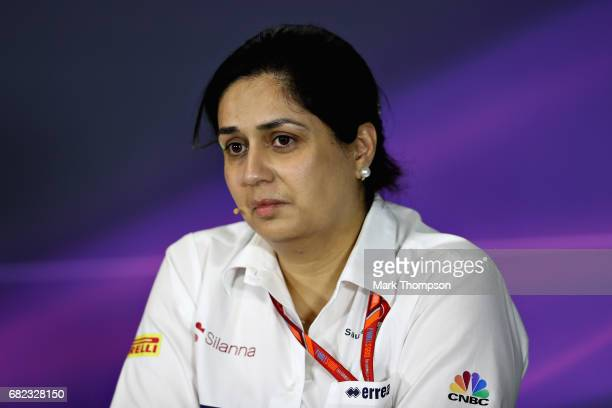 Sauber Team Principal Monisha Kaltenborn in the Team Principals Press Conference during practice for the Spanish Formula One Grand Prix at Circuit de...