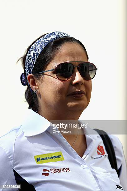 Sauber Team Principal Monisha Kaltenborn walks in the Paddock before final practice for the Abu Dhabi Formula One Grand Prix at Yas Marina Circuit on...