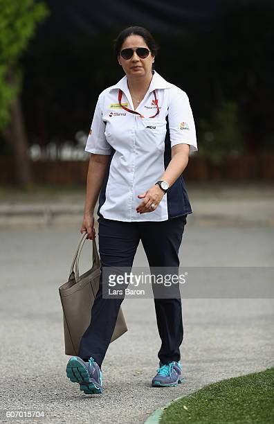 Sauber Team Principal Monisha Kaltenborn walks into the circuit before final practice for the Formula One Grand Prix of Singapore at Marina Bay...