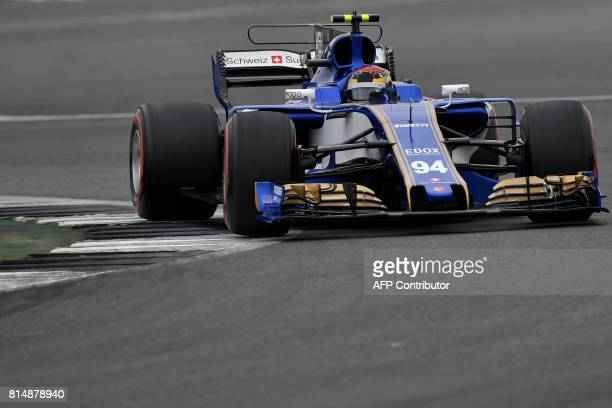 Sauber's German driver Pascal Wehrlein drives during the qualifying session at the Silverstone motor racing circuit in Silverstone central England on...