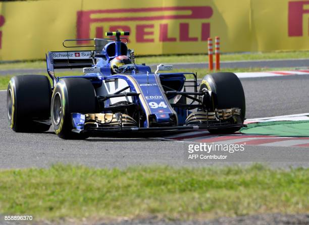 Sauber's German driver Pascal Wehrlein drives round the corner during the Formula One Japanese Grand Prix at Suzuka on October 8 2017 / AFP PHOTO /...