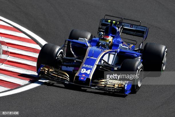 Sauber's German driver Pascal Wehrlein races during a free practice session at the Hungaroring racing circuit in Budapest on July 29 2017 prior to...