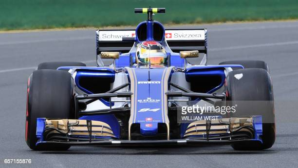 Sauber's German driver Pascal Wehrlein speeds through a corner during the second practice session at the Formula One Australian Grand Prix in...