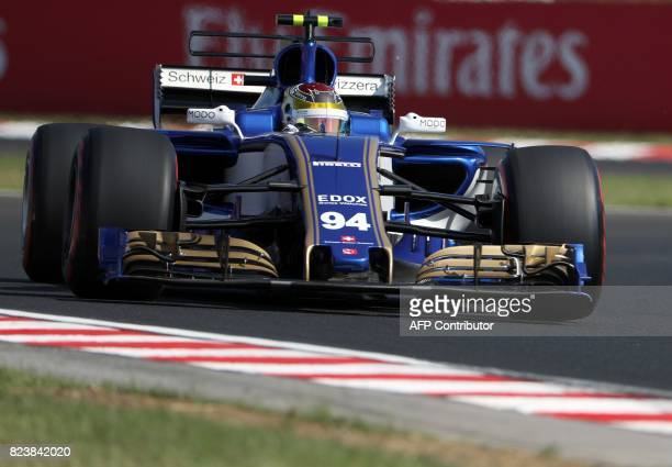 Sauber's German driver Pascal Wehrlein takes part in a practice session at the Hungaroring racing circuit in Budapest on July 28 2017 prior to the...