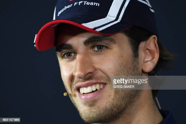Sauber's Italian driver Antonio Giovinazzi speaks during a press conference in Shanghai on April 6 ahead of the Formula One Chinese Grand Prix / AFP...