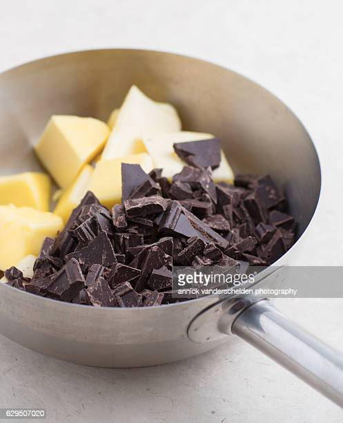 Sauce pan with butter and chocolate.