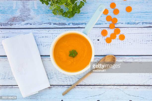 Saucepan of carrot soup