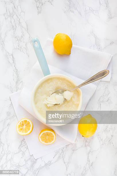 Saucepan of lemon sorbet made of organic lemons