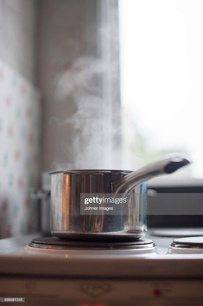 Saucepan on cooker