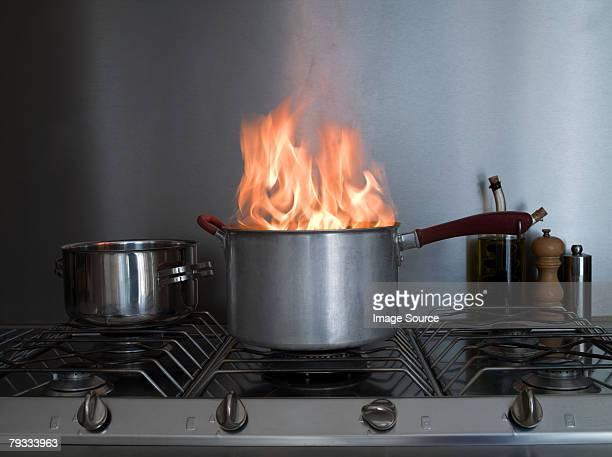 A saucepan on fire