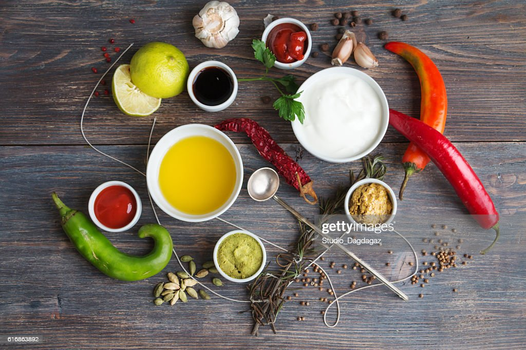 Sauces, spice, herbs, oil, condiments, seeds,cream, vegetables, : Stock Photo
