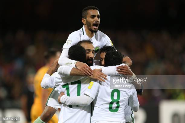 Saudi Arabia celebrate a goal during the 2018 FIFA World Cup Qualifier match between the Australian Socceroos and Saudi Arabia at the Adelaide Oval...