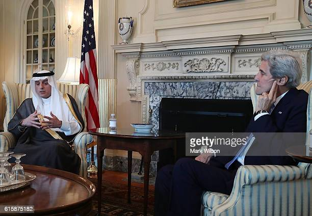 Saudi Arabia Foreign Minister Adel AlJubeir and Secretary of State John Kerry speak to the media after a meeting at the Department of State October...