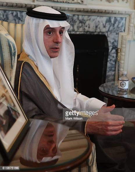 Saudi Arabia Foreign Minister Adel AlJubeir speaks to the media after a meeting at the Department of State October 20 2016 in Washington DC Secretary...