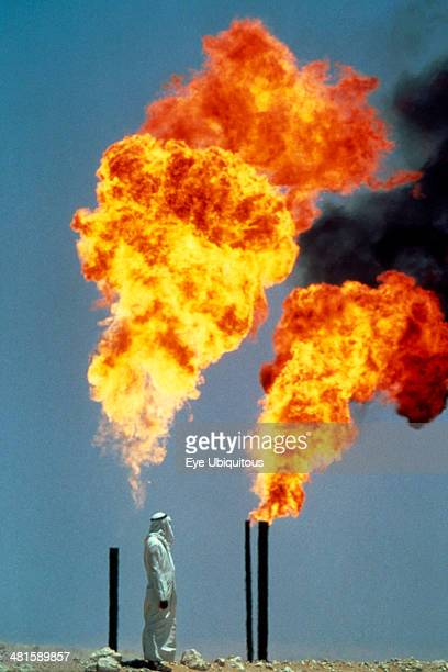 Saudi Arabia General Burning off gas at oil well