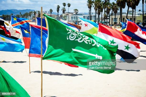 Saudi Arabia national flag surrounded by many national flags from different countries