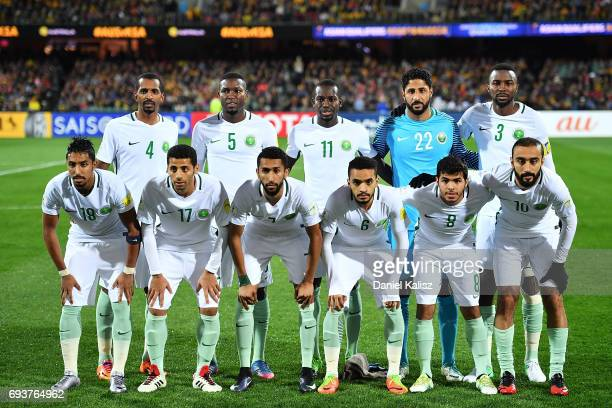 Saudi Arabia players pose for a photo prior to the 2018 FIFA World Cup Qualifier match between the Australian Socceroos and Saudi Arabia at the...