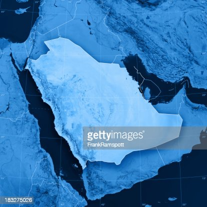 Saudi Arabia Topographic Map : Stock Photo