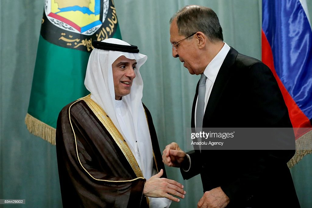 Saudi Arabian Foreign Minister Adel al-Jubeir (L) and Russian Foreign Minister Sergei Lavrov (R) attend a press conference following the Russia-Gulf Cooperation Council Strategic Dialogue Ministerial Meeting at the Russian Foreign Ministry's guest house in Moscow, Russia on May 26, 2016.