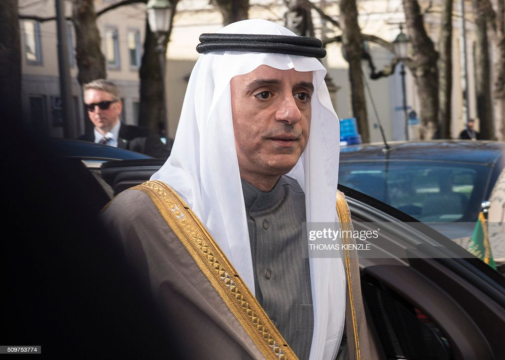Saudi Arabian Foreign Minister Adel bin Ahmed Al-Jubeir arrives at the Bayerischer Hof hotel to participate at the 52nd Munich Security Conference (MSC) in Munich, southern Germany, on February 12, 2016. / AFP / THOMAS KIENZLE