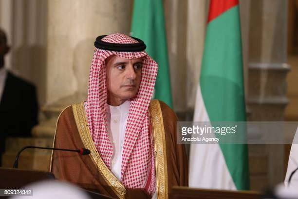 Saudi Arabian Foreign Minister Adel bin Ahmed AlJubeir attends a joint press conference with Minister of Foreign Affairs of the United Arab Emirates...