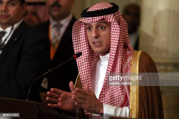 Saudi Arabian Foreign Minister Adel bin Ahmed AlJubeir speaks during a joint press conference with Minister of Foreign Affairs of the United Arab...