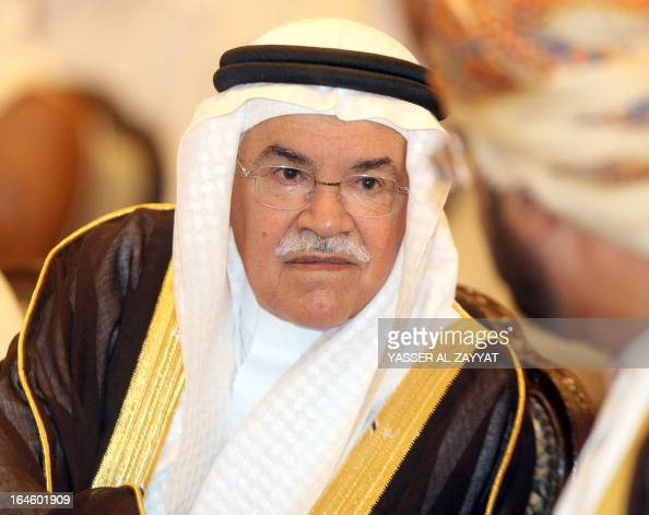 Saudi Arabian Minister of Petroleum and Mineral Resources Ali bin Ibrahim AlNaimi listens on as he attends the opening ceremony of the 1st GCC oil...
