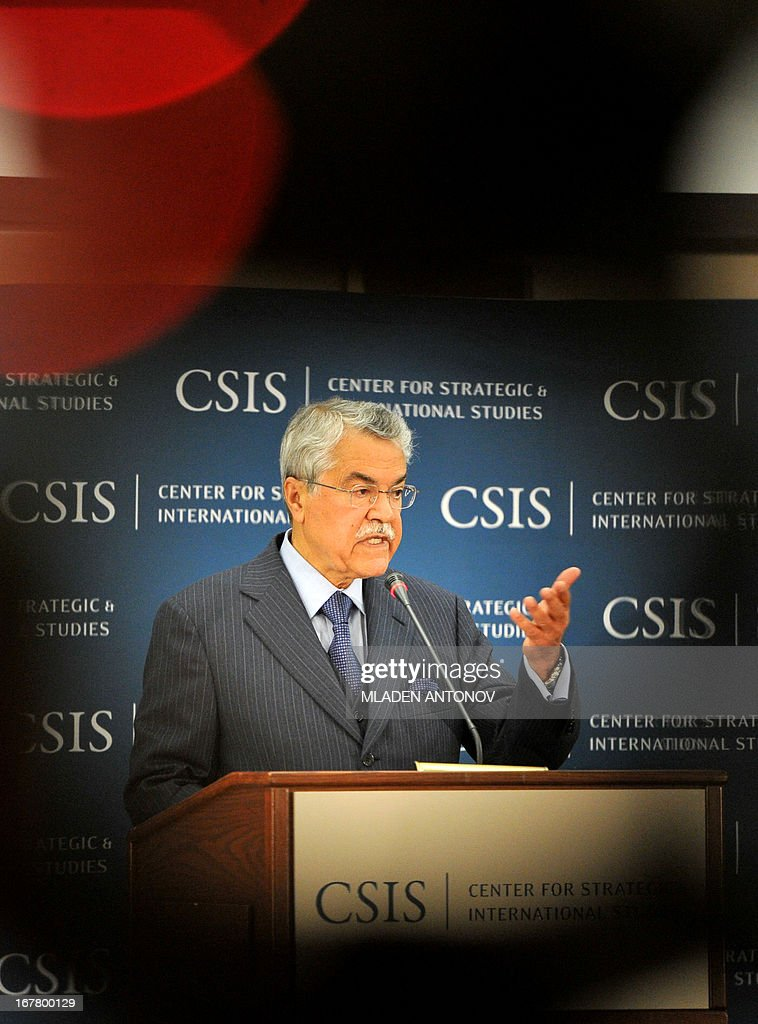 Saudi Arabian Minister of Petroleum and Mineral Resources Ali Ibrahim al-Naimi addresses the audience during a lecture in The Center for Strategic and International Studies (CSIS) in Washington DC on April 30, 2013. Naimi discussed the relationship between oil and economic growth, the impact of recently developed unconventional resources in the United States, and the transformation underway in Saudi Arabia. AFP PHOTO/ Mladen ANTONOV