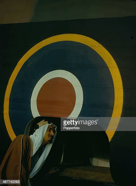 1943 Saudi Arabian Prince Emir Faisal bin Abdulaziz son of King Saud inspects a Halifax bomber whilst visiting the Handley Page Aircraft Works Great...