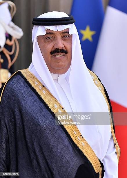 Saudi Arabian Prince Meteb bin Abdullah bin Abdulaziz Minister of the National Guard leaves the Elysee Palace after his meeting with French President...