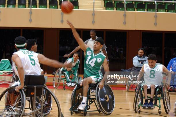 Saudi Arabian wheelchair bound basketball teams train at the Saudi Sports Federation for Special Needs complex on the outskirts of the capital Riyadh...