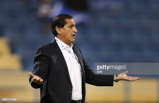 Saudi Arabia's AlHilal SFC Head Coach Ramon Angel Diaz reacts on the sidelines during the AFC Champions League football match between AlHilal and...