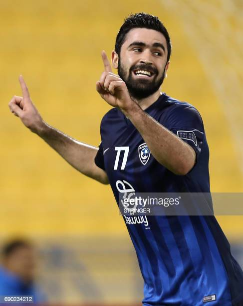Saudi Arabia's AlHilal SFC Omar Khribin celebrates after scoring a goal during the AFC Champions League football match between AlHilal and Iran's...