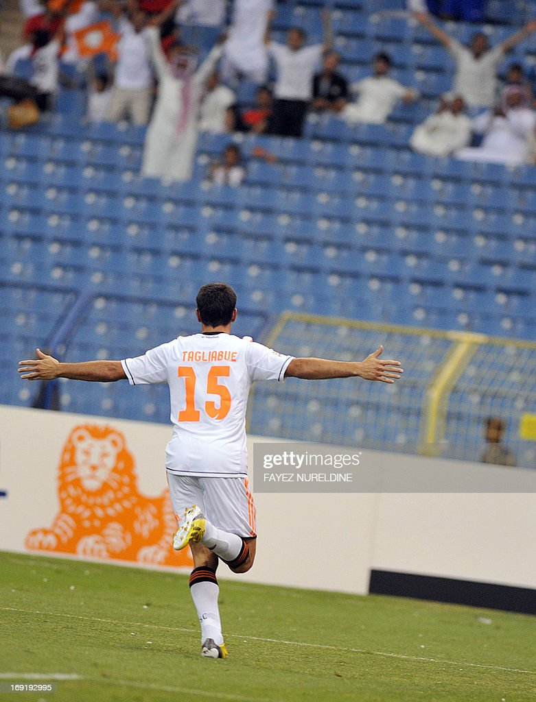 Saudi Arabia's al-Shabab club player Sebastian Tagliabue celebrates his goal scored Al Gharafa during their AFC Champions League football match at King Fahad International stadium in Riyadh, on May 21, 2013.