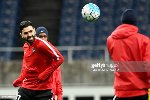 Saudi Arabia's club team AlHilal forward Omar Khrbin passes the ball during their official training session one day before the AFC Champions League...
