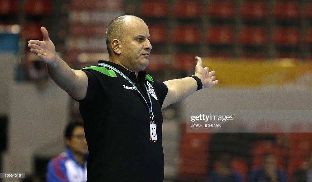 Saudi Arabia's coach Aleliva Ali gestures during the 23rd Men's Handball World Championships preliminary round Group C match Saudi Arabia vs South Korea at the Pabellon Principe Felipe in Zaragoza on January 17, 2013.