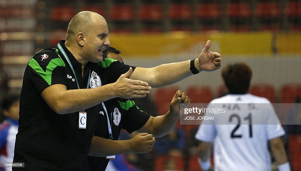 Saudi Arabia's coach Aleliva Ali gestures during the 23rd Men's Handball World Championships preliminary round Group C match Saudi Arabia vs South Korea at the Pabellon Principe Felipe in Zaragoza on January 17, 2013.