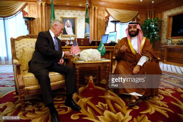 Saudi Arabia's Deputy Crown Prince and Defense Minister Mohammed bin Salman welcomes US Defense Secretary James Mattis on April 19 2017 in Riyadh...