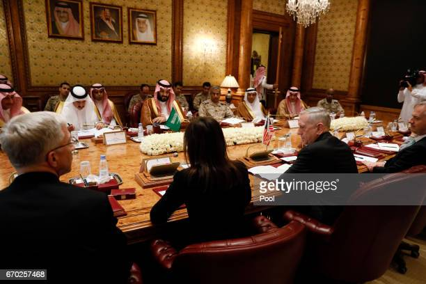 Saudi Arabia's Deputy Crown Prince and Defense Minister Mohammed bin Salman meets with US Defense Secretary James Mattis and his delegation on April...