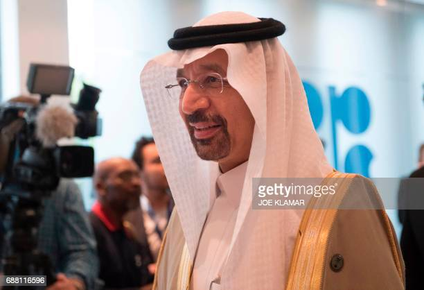 Saudi Arabias energy minister and president of the Organization of the Petroleum Exporting Countries Khalid alFalih arrives for the 172nd meeting of...