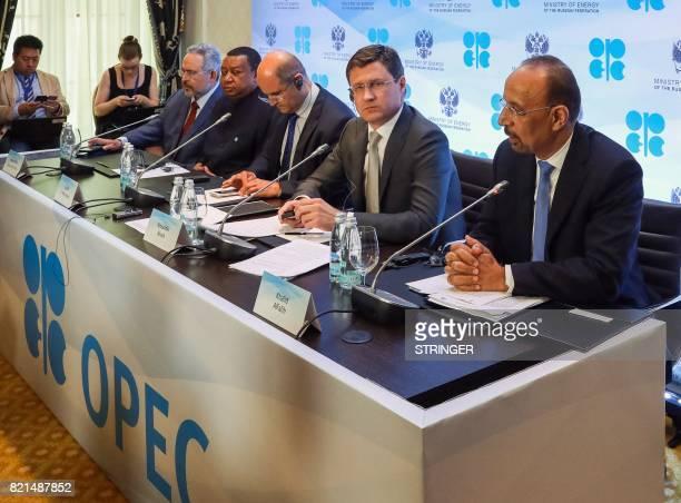 Saudi Arabia's Energy Minister Khalid alFalih Russia's Energy Minister Alexander Novak Kuwait's Oil Minister Essam alMarzouk and OPEC Secretary...