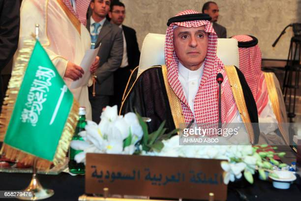 Saudi Arabia's Foreign Minister Adel alJubeir attends the preparatory meeting of Arab Foreign Ministers during the 28th Summit of the Arab League at...